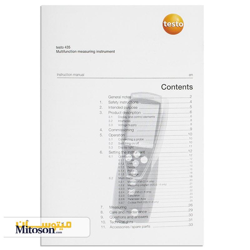 دفترچه راهنما کیفیت سنج هوای داخل محیط 1-435 تستو